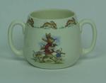 Bunnykins double handled mug with Rabbit and Mice carrying cricket equipment