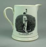 Jug:  images of  Yorkshire cricketers George Hirst & Wilfred Rhodes