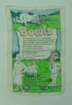 Tea towel, printed verse associated with lawn bowls c1970s