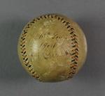 Baseball used in an interstate baseball match, circa 1904