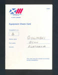 Equipment check card, used by Stan Golinski at 1986 Commonwealth Games