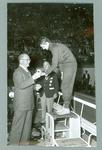 Photograph of Dawn Fraser receiving gold medal, 1956 Olympic Games