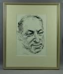 Drawing of Don Bradman, by Louis Kahan