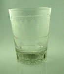 """Decorative glass engraved with cricket scene, """"Success to the Ripon Cricket Club"""""""
