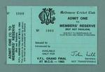 Melbourne Cricket Club members' reserve ticket, 1983 VFL Grand Final