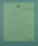 Handwritten letter of thanks addressed to Gwenyth Strasser, 1956 Olympic Games Volunteer driver