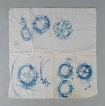 Paper napkin featuring a plan of the Melbourne Cricket Ground drawn by architect Darryl Jackson, dated 15/1/89.