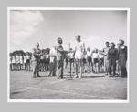 Photograph of athletics presentation ceremony, undated