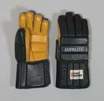 Black foam padded leather glove, used by a hockey goal keeper