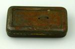 Metal tin & lid, contains metal pieces