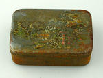 Rectangular metal tin with hinged lid