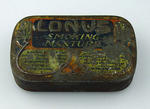 """Small tin with hinged lid, stamped """"Lonus Smoking Mixture"""""""