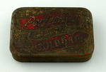 Tobacco tin with hinged lid, Perfection High Grade Gold Bars brand
