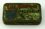 Tobacco tin with hinged lid, Lucy Hinton Cut Gold Bars brand