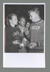 Photograph of Shirley Strickland with a CCCP athlete, International Friendly Sports Meeting of Youth 1955