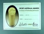 Sport Australia Certificate of Outstanding Performance, 1986 Women's Lacrosse Team