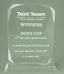 Trophy awarded to Melbourne Cricket Club, Dusit Cup Hua Hin Cricket Sixes - April 2001