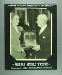 Photograph of Shirley Strickland being presented with Helms World Trophy Award, 1 June 1956