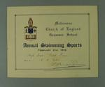 Certificate presented by Melbourne Church of England Grammar School, certifying that CH Esler finished first place in the High Dive on 21 February 1916