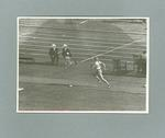Male athlete at commencement of long jump event,  MCG, 1956 Olympic Games