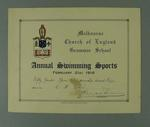 Certificate presented by Melbourne Church of England Grammar School, certifying that CH Esler finished second place in the Fifty Yards Open Championship on 21 February 1916