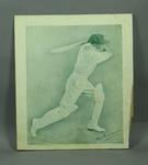 Print, depicts Don Bradman batting
