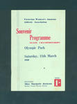Programme, Victorian Women's State Athletic Championships - 11 March 1950