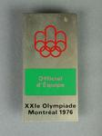Official's badge for 1976 Olympic Games, worn by Shirley Strickland