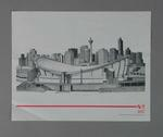Poster of print 'Olympic Saddledome', artist Suzanne Rose, 1988 Winter Olympic Games