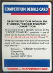 1990 Stimorol Cricket Stumpers Competition prize rules trade card