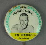 Badge with image of Jon Henricks, 1956 Olympic Games