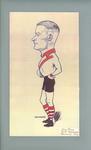 Caricature of John Bowe in South Melbourne FC uniform, 1933