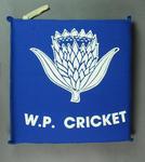 "Blue seat cushion, printed ""W. P. Cricket"" [Western Province]"