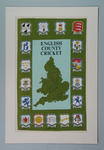 Tea towel, printed with map of England & Wales and county cricket club crests