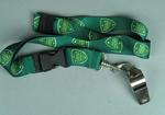 Unused whistle attached to a green-coloured lanyard issued by Cricket Australia to cricket umpire, Dr. Greg McKie, c.2005