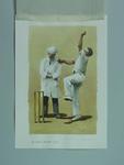 Watercolour, H Larwood & umpire F I Walden, by artist Robert Ingpen 2001, MCC Tapestry no.61