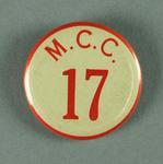 "Badge worn by MCG event duty staff, ""MCC 17"""