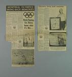 """Newspaper clipping, """"Montreal Olympics Bring Back Memories"""" - 1976"""