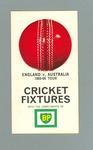 Fixture, England v Australia 1965-66 Tour