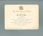 Invitation to Government of Victoria State Dinner, 21 November 1956