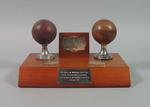 Trophy presented to the MCC on the centenary of the VCA in 1995, consisting of the ball used by TJ Matthews to take a hattrick at Lords in 1912