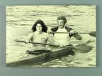 Mounted black and white photograph of Brian Dixon and woman paddling a kayak