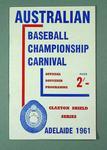 Australian Baseball Championship Carnival - Claxton Shield Series - Adelaide 1961; 4 copies Official Souvenir Programme