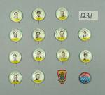 Fourteen badges and a bottle cap, 1956 Olympic Games