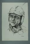 Drawing of Jack Brabham, by Louis Kahan