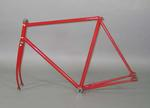 Red track bicycle frame owned by Bob Pearson in the 1930s-50s