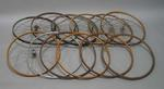 Twelve bicycle wheels, used by Bob Pearson.