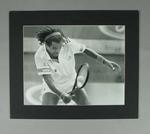 Photograph of French tennis player Yannick Noah during a match, date unknown