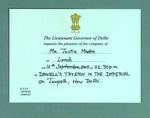 Invitation sent to Justin Madden, New Delhi 2005