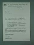 Letter from Australian Hockey Association advising changes to magazine publication, 11 July 1986